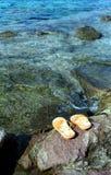 O amarelo lanç perto da água Fotografia de Stock Royalty Free