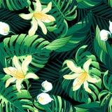O amarelo luxúria tropical floresce o teste padrão sem emenda imagens de stock