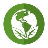 O ambiente ecológico da terra do mundo sae da sombra do símbolo Fotografia de Stock Royalty Free