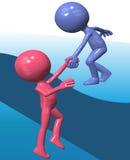 O amigo azul do elevador 3D da pessoa do ajudante escala acima Imagem de Stock