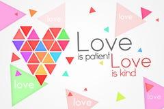 O amor é amor paciente é amável ilustração stock
