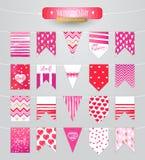 O amor é… marcador do rosa no fundo branco Inseto do vetor com coração e luzes vermelhos Fotos de Stock