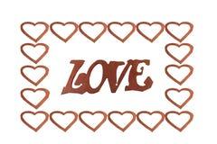 O amor da palavra em um fundo isolado branco para amantes, o 14 de fevereiro, o dia de Valentim imagens de stock