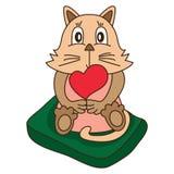 O amor do gato bonito senta-se para baixo Fotos de Stock Royalty Free
