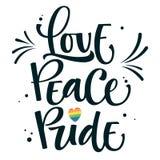 O amor do texto do preto de Gay Pride é amor com coração alegre do arco-íris, pontos, espirra a decoração ilustração royalty free
