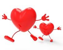 O amor dos corações mostra Valentine Day And Compassionate Imagem de Stock Royalty Free