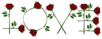 O amor escreve a rosa do vermelho Fotos de Stock Royalty Free
