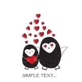 O amor está no ar, cartão do amor dos pinguins Imagens de Stock