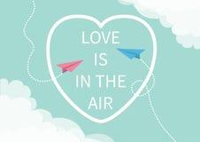 O amor está no texto da rotulação do ar Plano de voo do papel de dois origâmis Linha de coração tracejada nuvem do quadro nos can ilustração stock