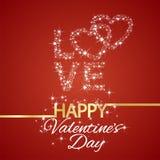 O amor feliz do dia de Valentim stars o fundo vermelho ilustração stock