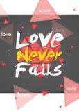 O amor nunca falha o fundo da obscuridade do retrato ilustração stock