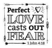 O amor perfeito molda para fora o emblema do medo Foto de Stock