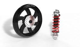 O amortecedor do velomotor e a roda, 3d rendem Imagem de Stock Royalty Free