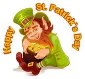 O anão abraçou o potenciômetro de ouro Dia de Patricks Duende e ouro Fotos de Stock