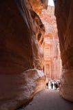 O anúncio-Deir do monastério, PETRA antigo da cidade de Nabataean, Jordânia Templo antigo em PETRA Fotografia de Stock