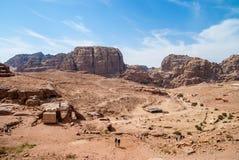 O anúncio-Deir do monastério, PETRA antigo da cidade de Nabataean, Jordânia Templo antigo em PETRA Imagens de Stock Royalty Free