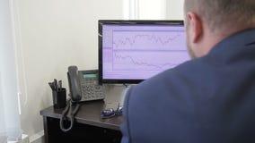 O analítico financeiro é ocupa com cuidado das taxas do preço em seus monitores de dois computadores vídeos de arquivo