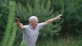 O ancião faz o up-down das ocupas dos exercícios da manhã no parque verde filme