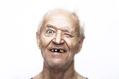 O ancião sido vesgo na surpresa Imagens de Stock Royalty Free