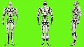 O androide do robô é imprensas o botão Movimento dado laços realístico no fundo de tela verde 4K