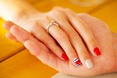 O anel de diamante do acoplamento, proposta, você alegre mim Fotos de Stock