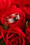 O anel de noivado Titanium no vermelho levantou-se Fotos de Stock Royalty Free