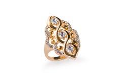 O anel dourado isolado no fundo branco Fotografia de Stock