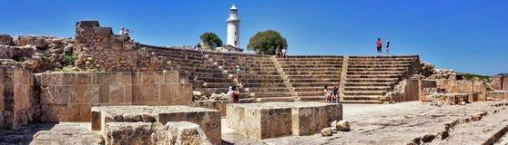 O anfiteatro antigo em Paphos, Chipre imagens de stock