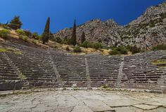 O anfiteatro - Dephi - Grécia Foto de Stock