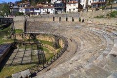O anfiteatro do grego clássico em Ohrid Fotos de Stock