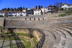 O anfiteatro do grego clássico em Ohrid Fotos de Stock Royalty Free