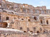 O anfiteatro romano bonito no EL Djem, Tunísia, Norte de África fotografia de stock royalty free