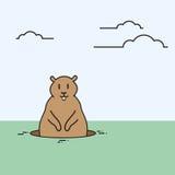 O animal do dia de Groundhog acorda o feriado da mola Imagens de Stock Royalty Free