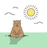 O animal do dia de Groundhog acorda o feriado da mola Imagens de Stock