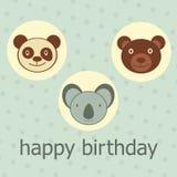 O animal enfrenta o cartão do feliz aniversario Fotografia de Stock Royalty Free