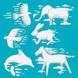 O animal nubla-se o ornamento wilding natural do animal do ambiente dos desenhos animados do céu do sumário da ilustração do veto Fotos de Stock
