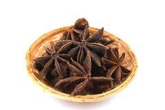 O anis de estrela chinês, anis de estrela, anis de estrela, Badiane, Badian, Badian Khatai, Bunga Lawang, Thakolam, ervas tem o p foto de stock royalty free