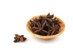 O anis de estrela chinês, anis de estrela, anis de estrela, Badiane, Badian, Badian Khatai, Bunga Lawang, Thakolam, ervas tem o p imagens de stock royalty free