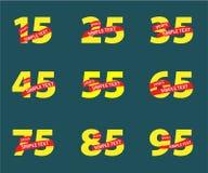 O aniversário amarelo numera com as fitas vermelhas com texto ilustração do vetor
