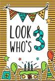 O aniversário caçoa o cartão do vetor com vela numeral colorida, balões, bolo, chapéu, cocktail para projetar cartões do feriado  Fotografia de Stock