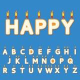 O aniversário candles letras Imagem de Stock Royalty Free