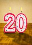 O aniversário candles o número 20 Imagem de Stock