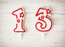 O aniversário candles o número 13 Fotos de Stock Royalty Free