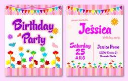 O aniversário cor-de-rosa do jardim do tema caçoa o cartão do convite ilustração royalty free