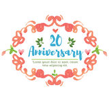 20o aniversário da aquarela Fotografia de Stock