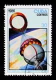 25o aniversário do primeiro homem no espaço, serie, cerca de 1987 Foto de Stock Royalty Free