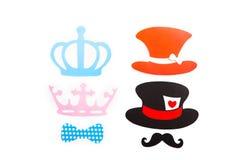 O aniversário e o partido de Photobooth ajustaram - vidros, chapéus Foto de Stock