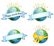 O aniversário feliz do dia de terra Candles 2 ilustração stock