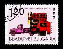 100o aniversario de la invención del motor de Diezel, serie del transporte, circa 1997 Fotos de archivo libres de regalías