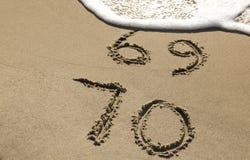70.o aniversario en la playa Foto de archivo libre de regalías